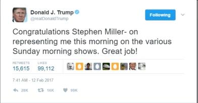 Trump Tweet - Steven Miller